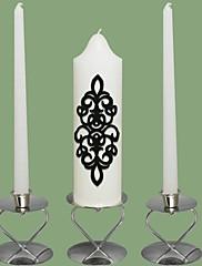 damašek svíčky svatební jednoty nastavení bílé (svícny není součástí balení)