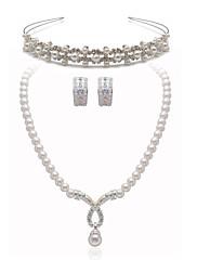 Belle parure de bijoux avec diadème en alliage d'argent et strass