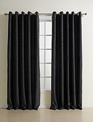2パネル ウィンドウトリートメント 新古典主義 , 純色 ベッドルーム ポリエステル 材料 遮光カーテンドレープ ホームデコレーション For 窓
