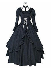 Inspirovaný D.Gray-man Lenalee Lee Anime Cosplay kostýmy Cosplay šaty / Šaty Jednobarevné Czarny Dlouhé rukávy K šatům