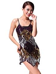 výkon dancewear chinlon se svítícím flitry latin dance šaty