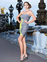 plašt / stupac bez naramenica kratka / mini otkačene rupičaste zavoj haljina