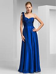 シース/コラムワンショルダー床の長さのシフォンのイブニングドレス