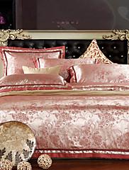 4ピースピンクの花柄のジャカードポリエステル完全な羽毛布団カバーセット