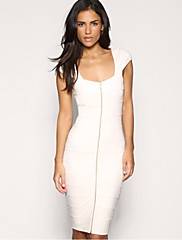 ファッションコレクションジップフロントOLスタイルBodyconドレス