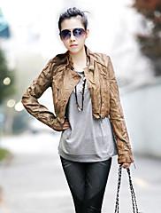 ファッションコレクションリベットデコレーションしわのPUショートジャケット