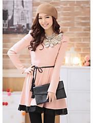 korean style dámy pasu šaty (růžová)