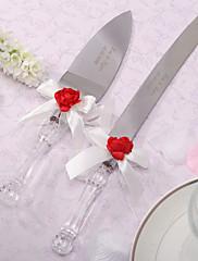 オーダーメイド☆赤バラ飾り☆ケーキナイフとケーキサーバーセット