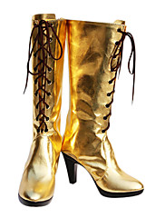 Cosplay Boots Vocaloid Megurine Luka Anime Cosplay Shoes Zlatna PU Leather Female