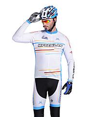 MYSENLAN COOLDRY +フレックス素材ロングスリーブ速乾性の男性サイクリングスーツ(ホワイト、ブルー)