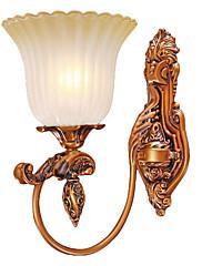 40W Vintage Nástěnné svítidlo s leptané sklo odstín Příroda-inspiroval design