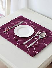4モダンなスタイルパープルglimmarベロアカット刺繍マットのセット