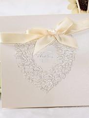 非個人化 トップ折り 結婚式の招待状 招待状カード-50 ピース/セット クラシック / 花のスタイル パール紙 15cm*15cm