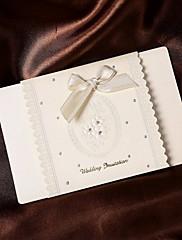 リボンの弓を持つシンプルな結婚式の招待状(50セット)