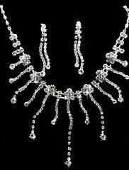 銀合金のラインストーンセットアメージングネックレスとイヤリング