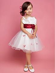 A-Linie Princess Ke kolenům Šaty pro květinovou družičku - Satén Tyl Čtvercový Popruhy s Nabírání Květina(y) Šerpa / Stuha