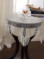 古典的な刺繍白い花のテーブルクロス