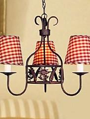 V evropském stylu Moderní 3 Light lustr s Red Grid Shade