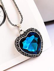 Jednoduché tvaru srdce Crystal Přívěsek Dlouhý náhrdelník
