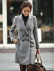 Weimeijiaファッションダブルブレストロングツイードオーバー