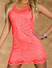 Fluorescent Red Lace Tank Bodycon šaty