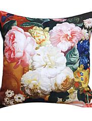 """18 """"スクエアカントリー牡丹プリントポリエステル装飾的な枕カバー"""