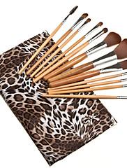 12 ks módní make-up Brush Set s taškou Leopard