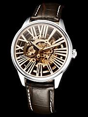 Pánské Hollow Rytina kulatý ciferník Pu kapela Auto-Merchanical náramkové hodinky