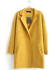 Dream Dámské módní Loose Fit tvídový plášť (žlutá)