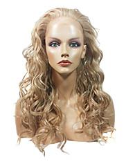 Krajka Přední Elegantní dlouhé kudrnaté Tepelně odolný syntetický paruka (blond)