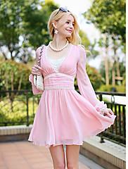 Růžový Doll Lace Puff Sleeve háčkování záhybů Mini šaty