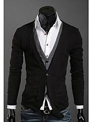 Wshgyy Pánské Two Piece jako volný Pletené Cardigan Black košile