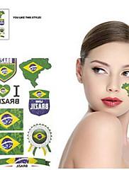 2ks Badge Pattern Brazil World Cup Vodotěsné tetování těla Dočasné Glitter Samolepky
