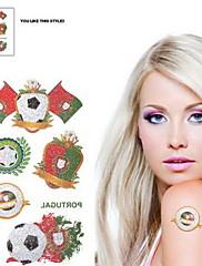 2ks Fotbal vzor Portugalsko Světový pohár Vodotěsné tetování těla Dočasné Glitter Samolepky