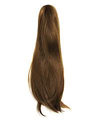 ポニーテールヘアーエクステンションたゲーム茶色の長い波状合成リボン