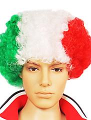 キャップレスサッカーファンパーティーウィッグ(イタリア国旗の色)