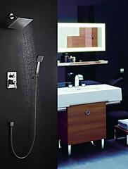 Současné Nástěnná montáž Dešťová sprcha / Včetne sprchové hlavice with  Keramický ventil Single Handle tři otvory for  Broušený nikl ,