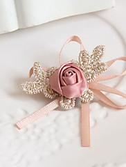 手作りの小さなRosr柄ピンクのサテンスウィートロリータブローチ