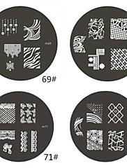 1 ks M Series Zaoblený Abstraktní Design Nail Art Stamp Lisování obrázku Šablona Plate No.69-72 (Smíšený vzor)