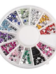12-Color Square drahokamu Nail Art Decoraitons
