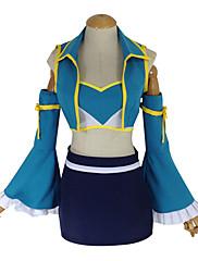 Inspirovaný Fairy Tail Lucy Heartfilia Anime Cosplay kostýmy Cosplay šaty Patchwork Czarny / Niebieski Vesta / Sukně / Podprsenka / Rukávy