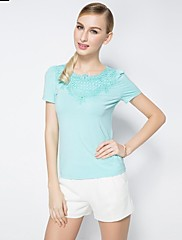 OSAの女性の半袖レースピュアカラーTシャツ