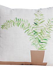 国緑の葉コットン/リネン装飾枕カバー