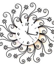24「Hモダンなスタイルの花メタルウォールクロック