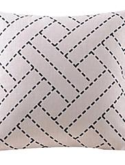 ベージュバスケットパターンコットン/リネン装飾枕カバー