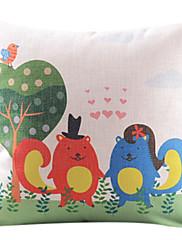 動物コットン/リネン装飾枕カバーのカップル