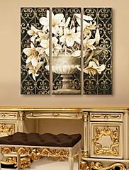 3のキャンバスの芸術の古典的な花のセット