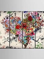 キャンバスセット 抽象画 花柄/植物の クラシック Modern,4枚 縦長 版画 壁の装飾 For ホームデコレーション