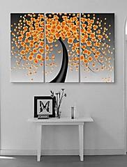 3のキャンバスの芸術幸福の花が咲き、抽象絵画のセット