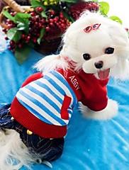 ペットの犬のパーカー付きのスタイリッシュなストライプパターンのジャンプスーツ(アソート色、サイズ)